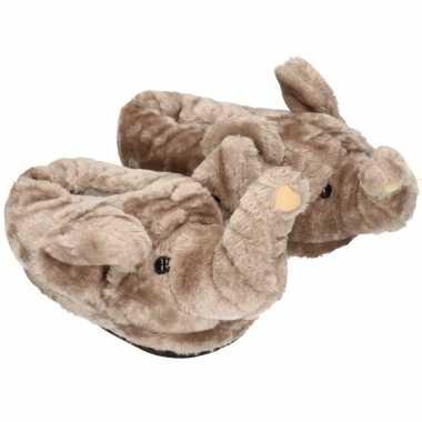 Dieren olifant pantoffels/sloffen volwassenen maat /