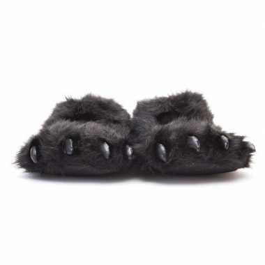 Dierenpoot pantoffels/sloffen beer volwassenen zwart /