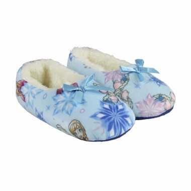 Lichtblauwe frozen pantoffels strik meisjes