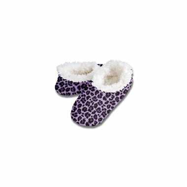 Paarse luipaard print sloffen