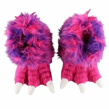 Roze monsterpoten pantoffels meisjes