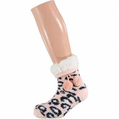 Roze/witte luipaardvlekken gevoerde huissokken/slofsokken dames