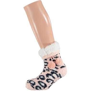 Roze/witte luipaardvlekken gevoerde huissokken/slofsokken meisje