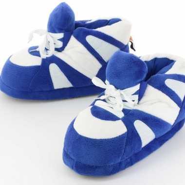 Sneaker pantoffels/sloffen volwassenen blauw/wit /